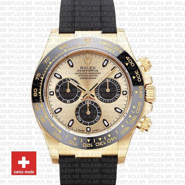 Rolex Daytona Yellow Gold Rubber Strap Panda Dial Watch