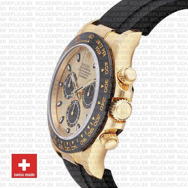 Rolex Daytona Yellow Gold Rubber Strap Panda Dial Replica Watch