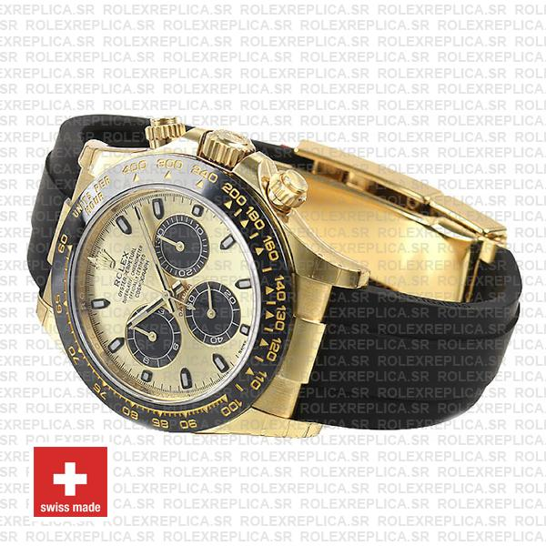 Rolex Cosmograph Daytona Rubber 18k Yellow Gold 904L Steel Gold Panda Dial Stick Markers 40mm