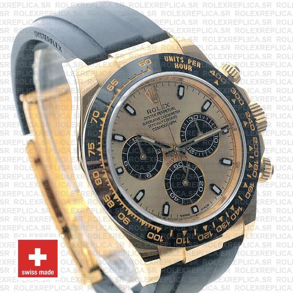 Rolex Daytona Yellow Gold Rubber Strap Panda Dial Swiss Replica Watch