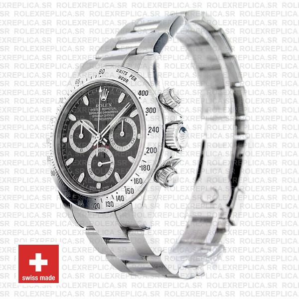 Rolex Cosmograph Daytona Black Dial 40mm Swiss Replica Watch with 904L Stainless Steel Oyster Bracelet