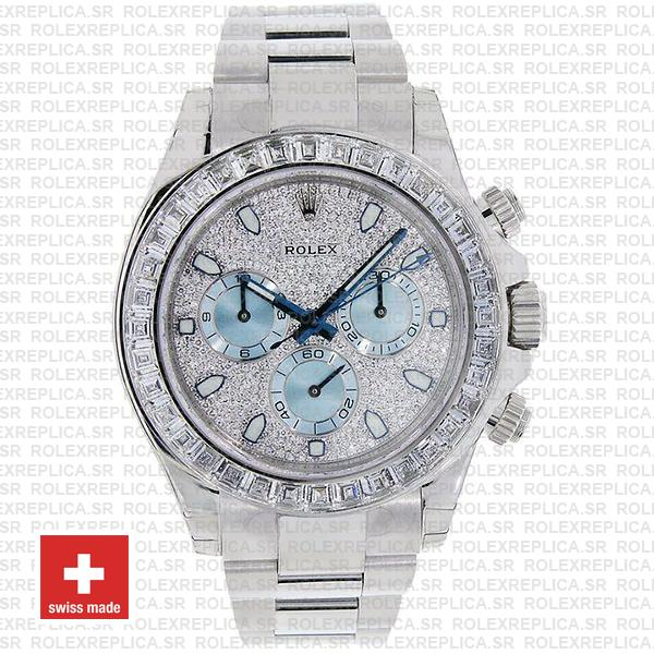 Rolex Oyster Perpetual Cosmograph Daytona in Platinum Diamond Dial & Bezel with Ice Blue Subdials & an Oyster bracelet Replica Watch