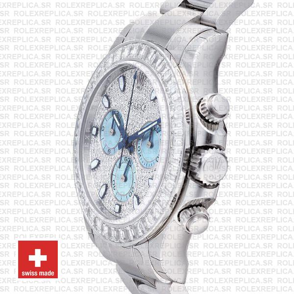 Rolex Daytona Ss Platinum Diamonds 50mm 116576 Swiss Replica