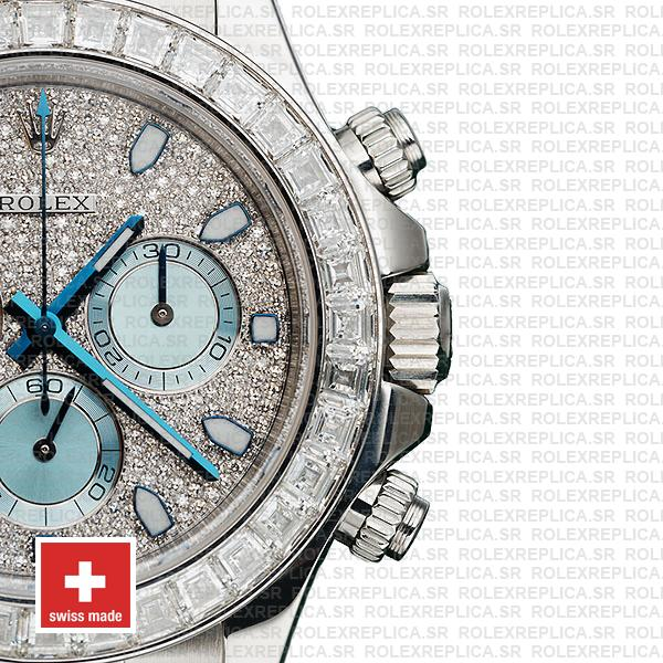 Rolex Oyster Perpetual Cosmograph Daytona in Platinum Diamond Dial & Bezel with Ice Blue Subdials & an Oyster bracelet
