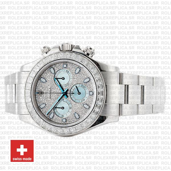 Rolex Oyster Perpetual Cosmograph Daytona in Platinum Diamond Dial & Bezel with Ice Blue Subdials & an Oyster bracelet Watch