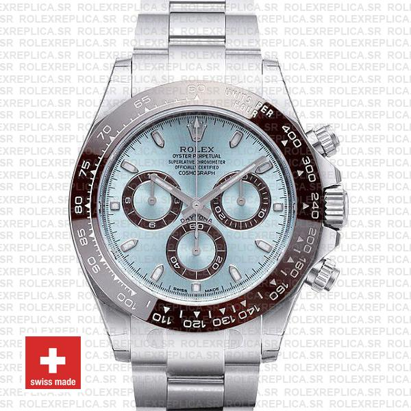 Rolex Daytona Ss Platinum Ice Blue Ceramic 116506 40mm Swiss Replica