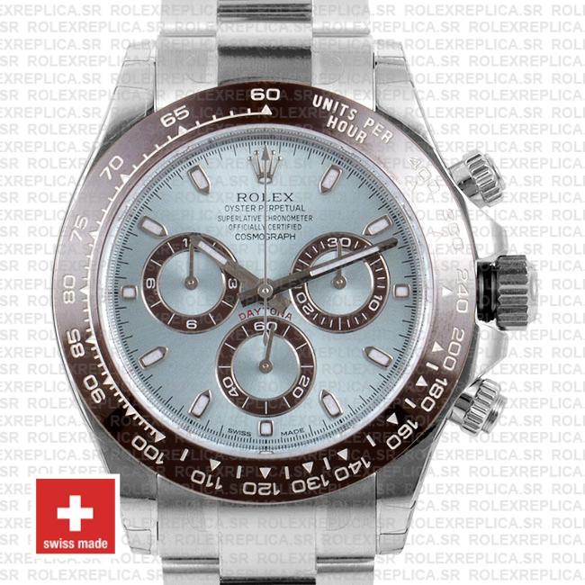 Rolex Cosmograph Daytona 950 Platinum 904L Steel Ice Blue Dial Ceramic Bezel 40mm Oyster Bracelet