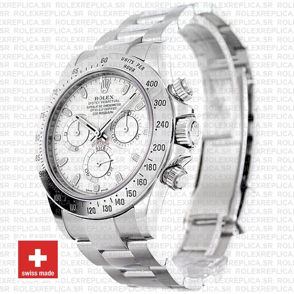 Rolex Daytona White Dial Stainless Steel Swiss Replica Watch