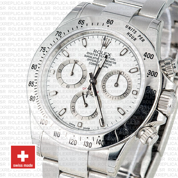 Rolex Daytona 18k White Gold 904L Stainless Steel White Dial with luminous Markers & Oyster Bracelet Replica