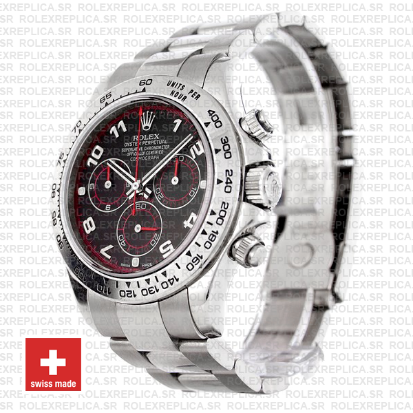 Rolex Daytona Stainless Steel Black Arabic Dial Replica Watch