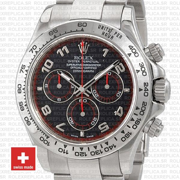 Rolex Daytona Stainless Steel | Black Arabic Dial Swiss Replica Watch