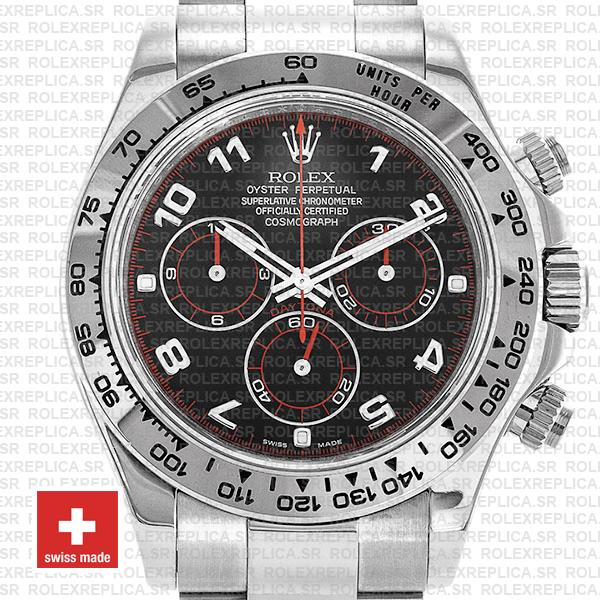 Rolex Cosmograph Daytona 18k White Gold Black Arabic Dial with Red Needles