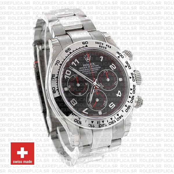 Rolex Cosmograph Daytona 18k White Gold Black Arabic Dial with Red Needles 904L Steel Oyster Bracelet