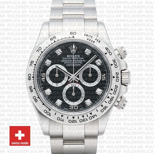 Rolex Daytona 18k White Gold Black Diamond Dial Watch
