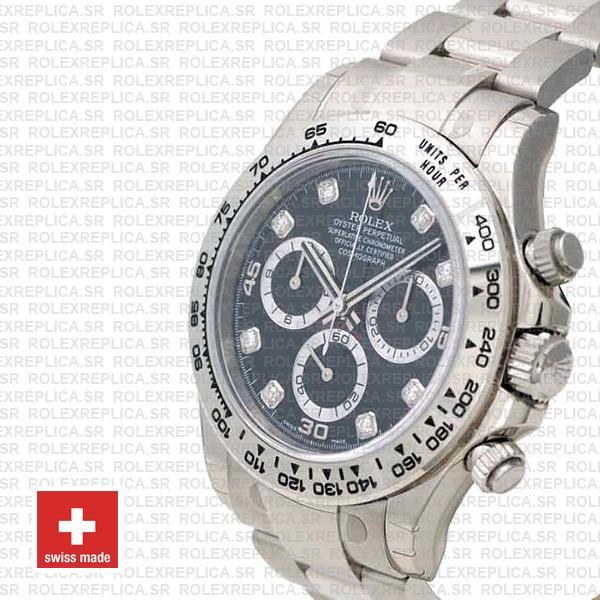 Rolex Daytona 18k White Gold Black Diamond Dial Replica Watch