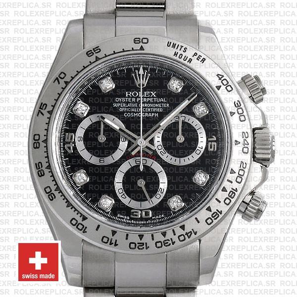 Rolex Daytona 18k White Gold Black Diamond Dial Swiss Replica Watch