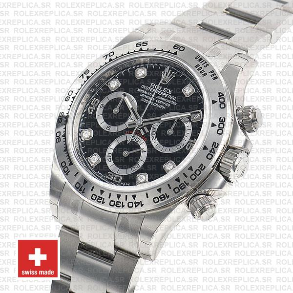 Rolex Oyster Perpetual Cosmograph Daytona 40mm 18k White Gold Black Diamond Dial