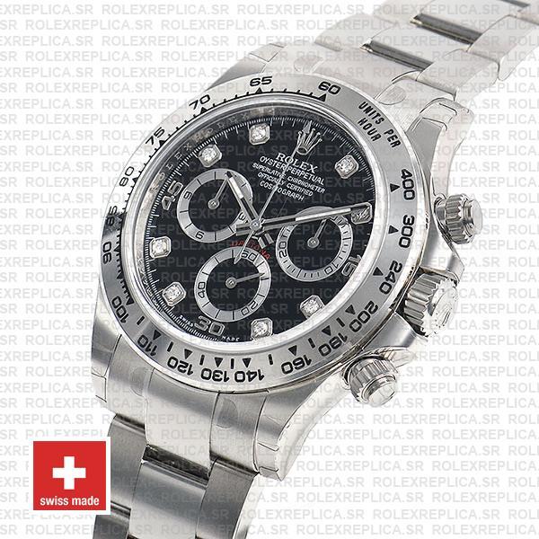 Rolex Daytona Ss White Gold Black Diamond 40mm 116509 Swiss Replica