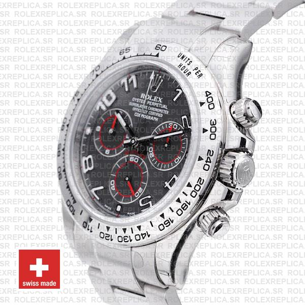Rolex Daytona 18k White Gold Stainless Steel, Grey Dial with Arabic Markers 904L Steel Replica Watch