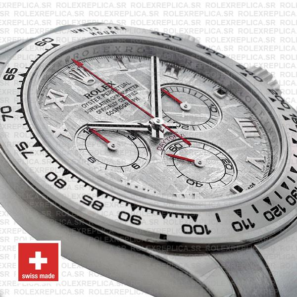 Rolex 116509 Cosmograph Daytona 18k White Gold Stainless Steel Replica Watch Meteorite Dial with Roman Numerals