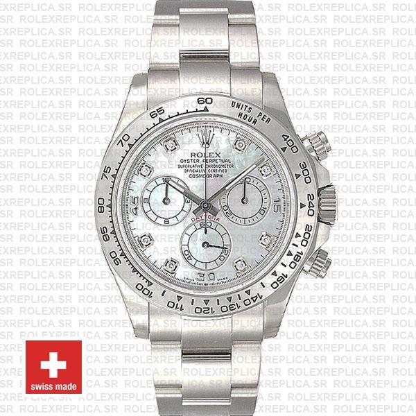 Rolex Daytona White Gold Diamond Dial Rolex Replica Watch