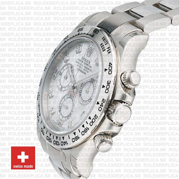 Rolex Daytona Ss White Gold Mop White Diamond 40mm 116509 Swiss Replica