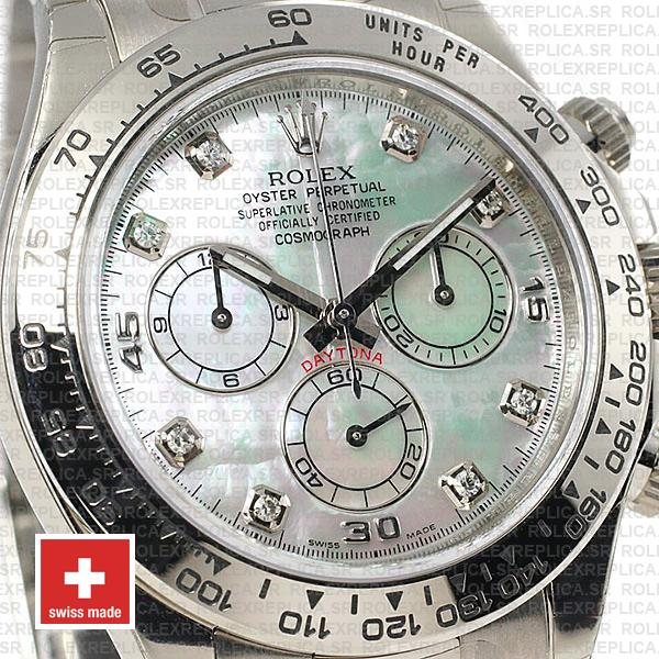 Rolex Daytona 904L Stainless Steel 18k White Gold Mop White Dial with Moissanite Diamond Markers
