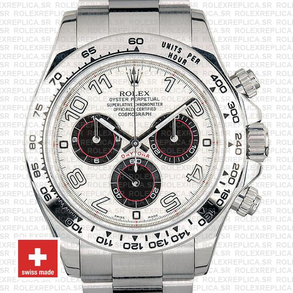 Rolex Daytona White Gold Stainless Steel White Dial Replica Watch