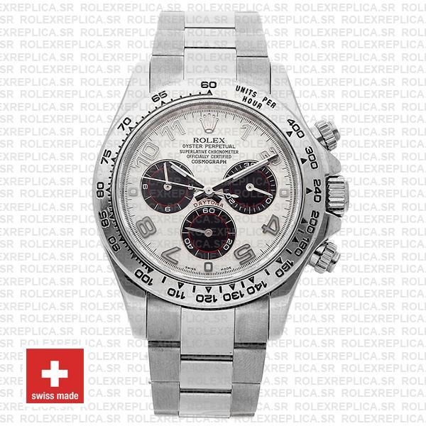 Rolex Cosmograph Daytona 18k White Gold Luxury Replica Watch, White Arabic Dial