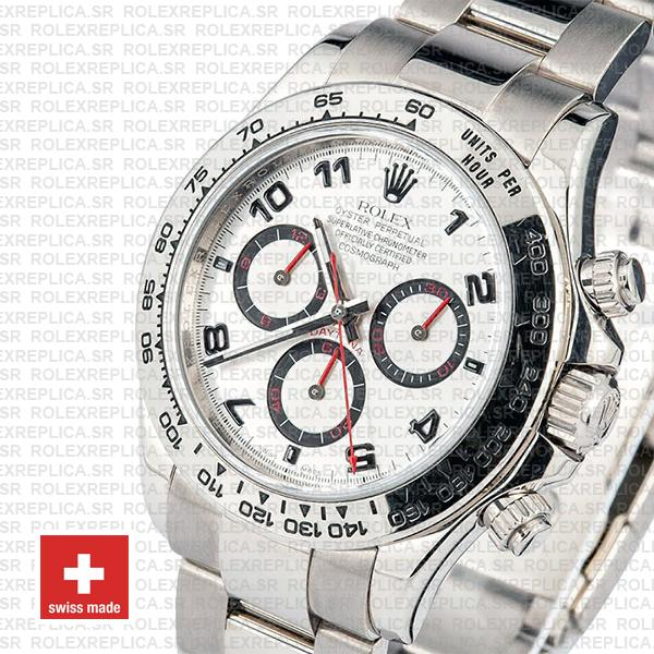 Oyster Perpetual Rolex Daytona 18k White Gold Stainless Steel Rolex Replica Watch