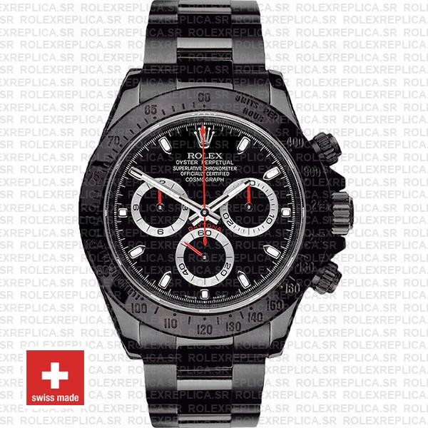 Rolex Daytona Swiss Replica 116520 Black Dlc Red Needles