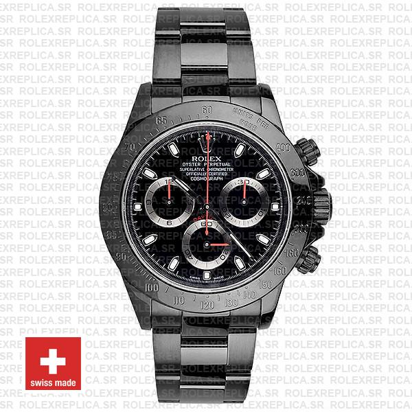 Rolex Daytona Swiss Replica 116520 Black Dlc Red Needles