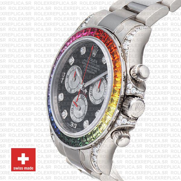 Rolex Daytona White Gold Rainbow Bezel Black Diamond Replica Watch