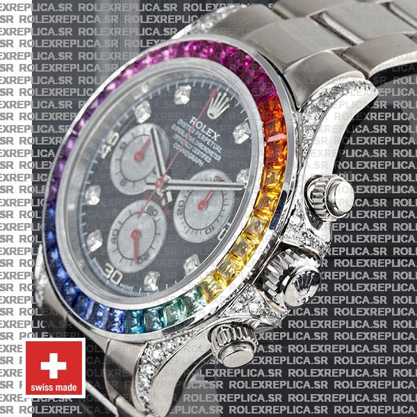 Rolex Daytona White Gold Rainbow Bezel Black Diamond Swiss Replica Watch