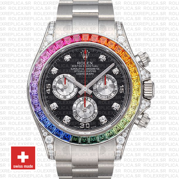 Rolex Daytona White Gold Rainbow Bezel Black Diamond Watch