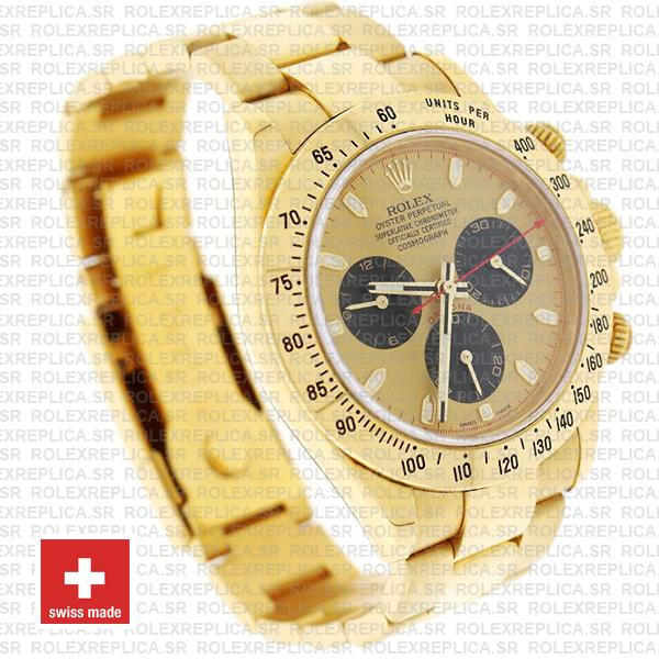Rolex Daytona Gold 904L Stainless Steel Gold Panda Dial with Black Subdials & Oyster Bracelet 40mm Replica Watch