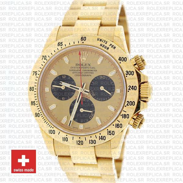 Rolex Daytona Yellow Gold Gold Dial Black Subdials Swiss Replica 40mm 116528