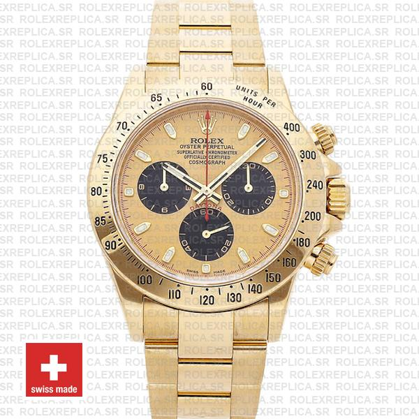 Rolex Daytona Gold 904L Stainless Steel Gold Panda Dial with Black Subdials & Oyster Bracelet