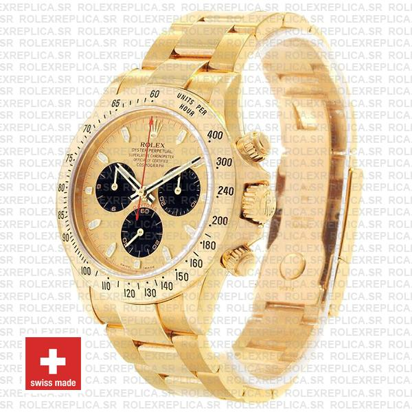 Rolex Daytona Gold 904L Stainless Steel Gold Panda Dial with Black Subdials & Oyster Bracelet 40mm