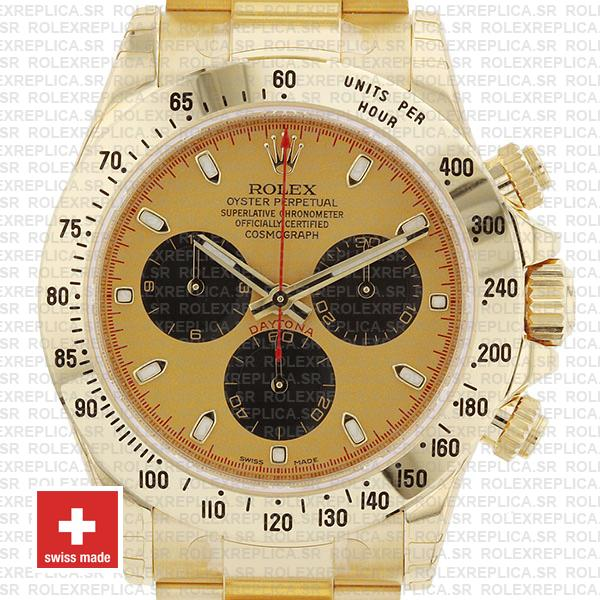 Rolex Daytona Gold 904L Stainless Steel Gold Panda Dial with Black Subdials & Oyster Bracelet 40mm Replica