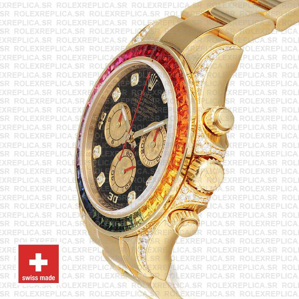Rolex Daytona Yellow Gold Rainbow Bezel Swiss Replica Watch