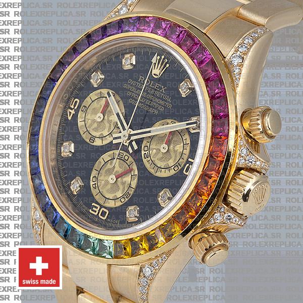 Rolex Cosmograph Daytona 18k Yellow Gold Black Diamond Dial with Rainbow Sapphire Bezel 40mm Watch