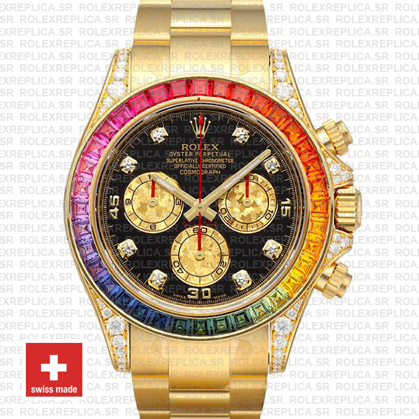 Rolex Daytona Yellow Gold Rainbow Bezel Rolex Replica Watch