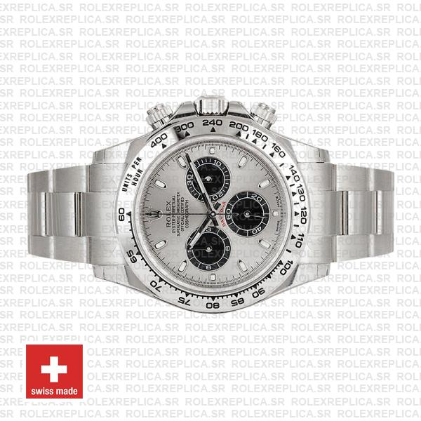 Rolex Oyster Perpetual Daytona 18k White Gold, Steel Panda Dial with Black Subdials Oyster Bracelet