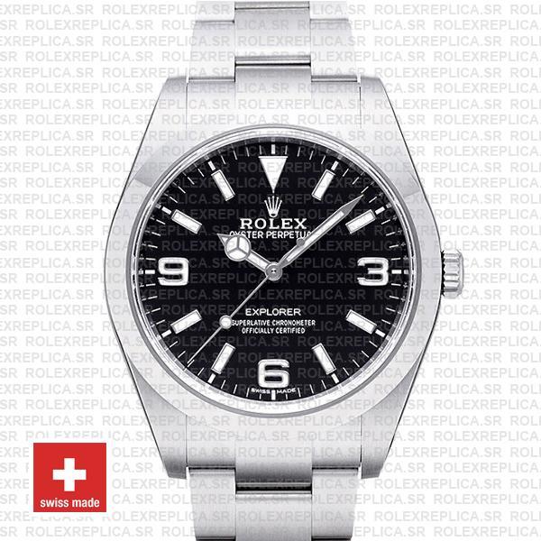 Rolex Explorer 904L Steel Black Dial 39mm Replica Watch