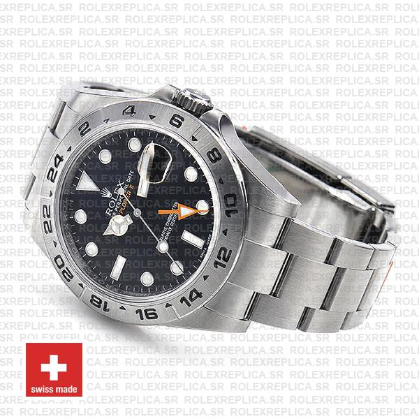 Rolex Explorer II Oyster Perpetual 904L Stainless Steel Date Replica Watch in Black Dial
