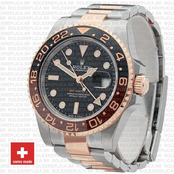 Rolex GMT-Master II Rose Gold Two Tone in Black Dial 40mm Root Beer Watch