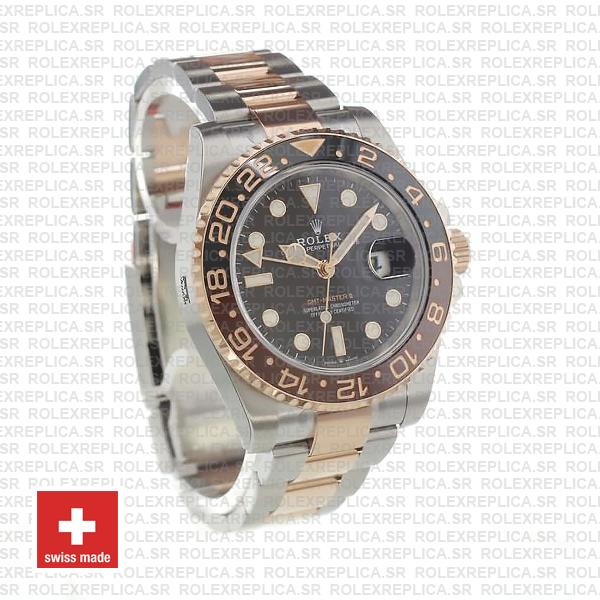 Rolex Gmt Master Ii 18k Rose Gold 2 Tone Oyster Ceramic Bezel Black Dial 126711chnr 40mm
