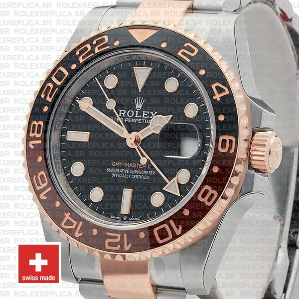 Rolex GMT-Master II Rose Gold Two Tone in Black Dial 40mm Brown Black Ceramic Bezel Watch