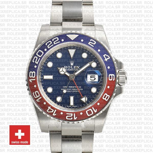 Rolex GMT-Master II White Gold Pepsi Blue Dial Rolex Replica Watch